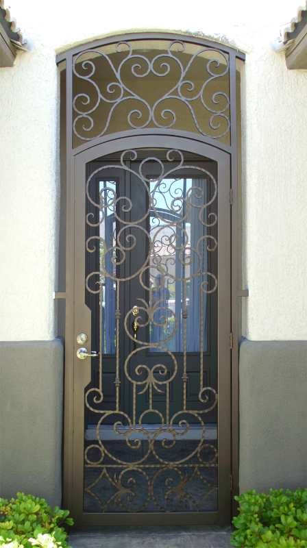 Scrollwork Monaco Entryway Door - Item EW0225 Wrought Iron Design In Las Vegas