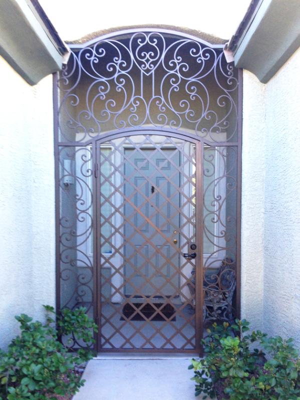 Scrollwork Paisley Entryway Door - Item EW0381 Wrought Iron Design In Las Vegas