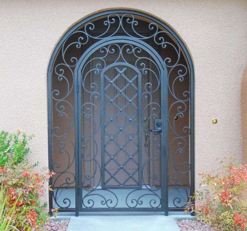 Scrollwork Paisley Entryway Door - Item EW0381B Wrought Iron Design In Las Vegas