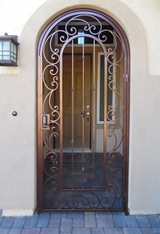 Scrollwork Paisley Entryway Door - Item EW0450 Wrought Iron Design In Las Vegas