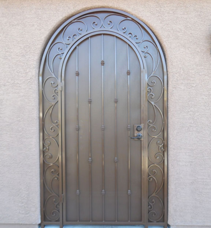 Scrollwork Paisley Entryway Door - Item EW0462 Wrought Iron Design In Las Vegas