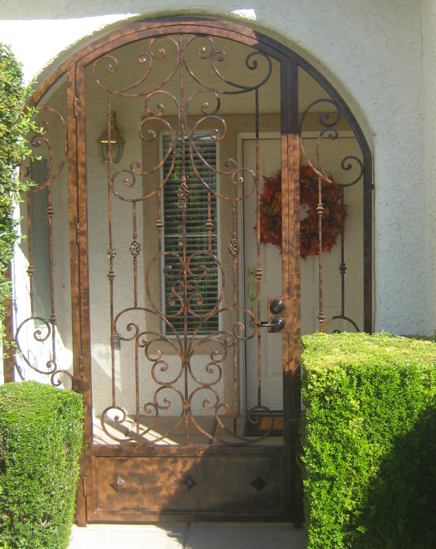 Scrollwork Papillion Entryway Door - Item EW0086 Wrought Iron Design In Las Vegas