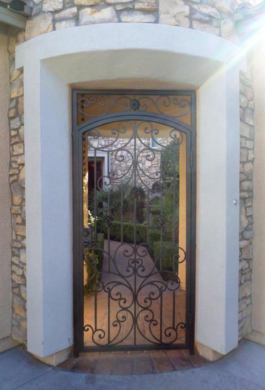 Scrollwork Papillion Entryway Door - Item EW0086C Wrought Iron Design In Las Vegas