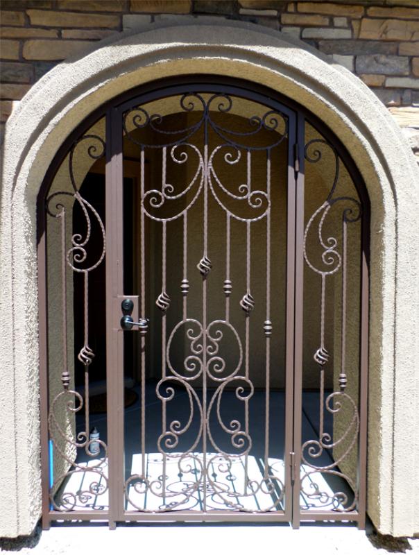 Scrollwork Papillion Entryway Door - Item EW0377 Wrought Iron Design In Las Vegas