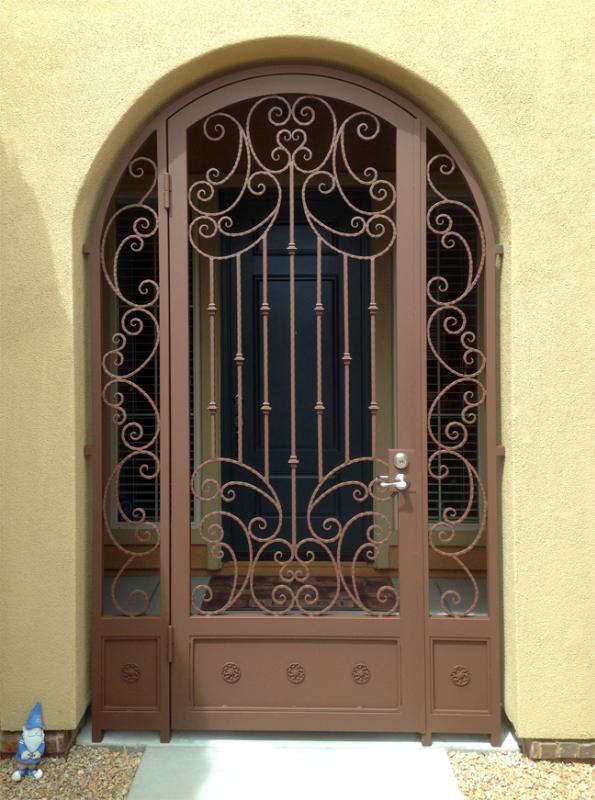 Scrollwork Papillion Entryway Door - Item EW0406 Wrought Iron Design In Las Vegas