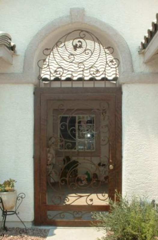 Scrollwork Pianna Entryway Door - Item EW0364A Wrought Iron Design In Las Vegas