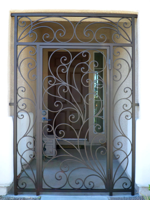 Scrollwork Portini Entryway Door - Item EW0089A Wrought Iron Design In Las Vegas