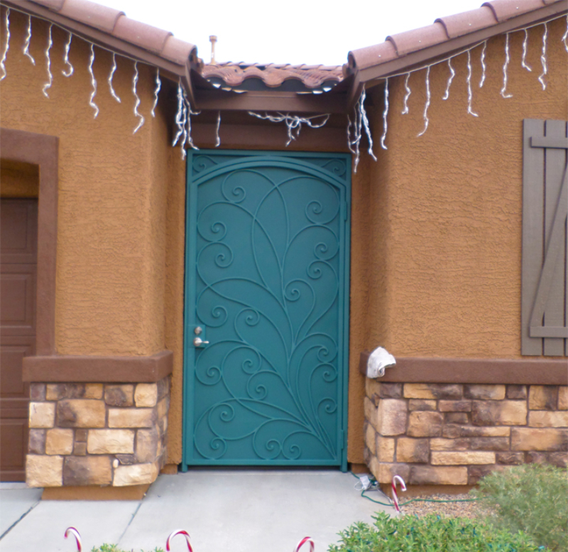 Scrollwork Portini Entryway Door - Item EW0440 Wrought Iron Design In Las Vegas