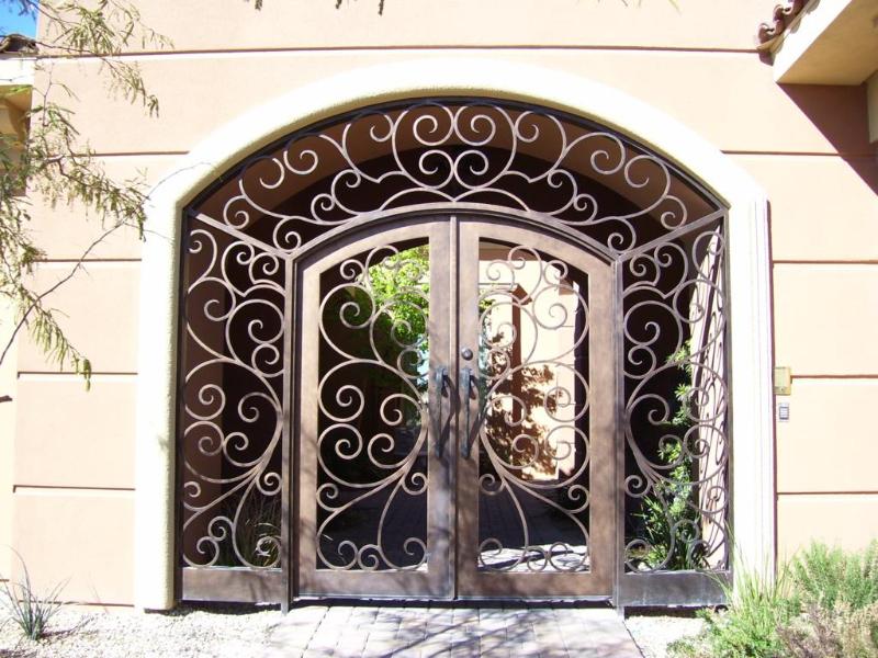 Scrollwork Ricci Entryway Door - Item EW0070 Wrought Iron Design In Las Vegas
