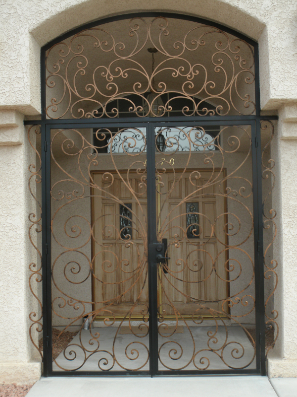 Scrollwork Ricci Entryway Door - Item EW0137 Wrought Iron Design In Las Vegas