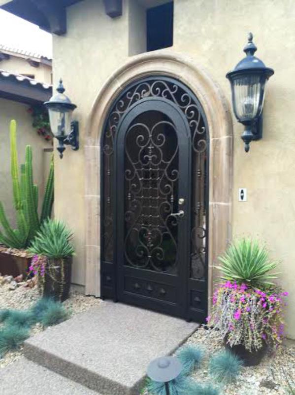 Scrollwork Saxon Entryway Door - Item EW0479 Wrought Iron Design In Las Vegas