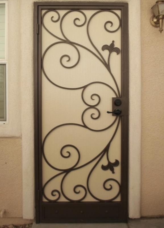 Scrollwork Security Door - Item Bellezza SD0114 Wrought Iron Design In Las Vegas