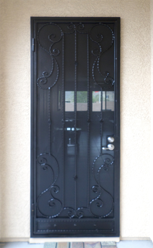 Scrollwork Security Door - Item Biscay SD0180 Wrought Iron Design In Las Vegas