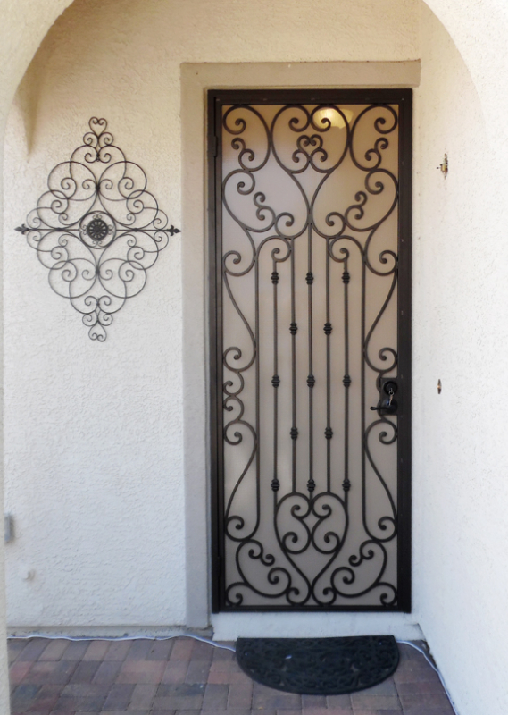 Scrollwork Security Door - Item Duchess SD0108A Wrought Iron Design In Las Vegas