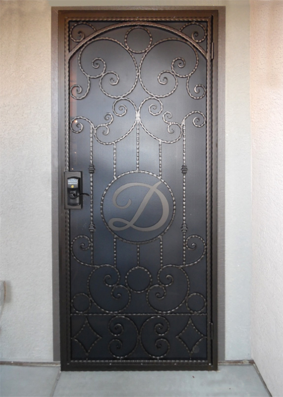 Scrollwork Security Door - Item Monaco SD0151C_Monogram Wrought Iron Design In Las Vegas