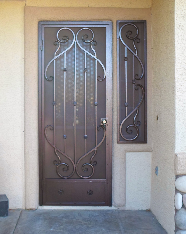 Scrollwork Security Door - Item Mozart SD0167 Wrought Iron Design In Las Vegas