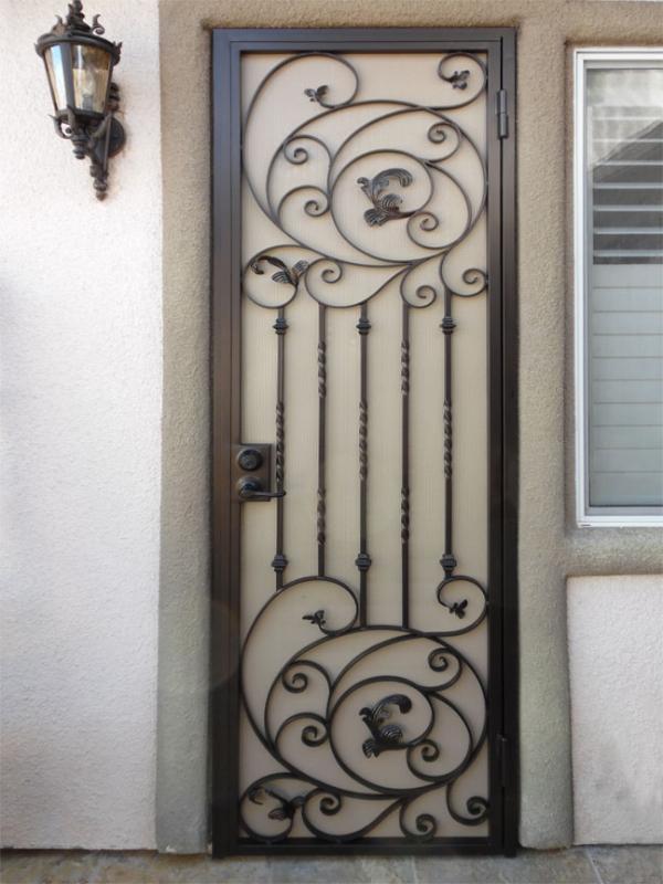 Scrollwork Security Door - Item Pianna SD0202_Brown-White Wrought Iron Design In Las Vegas