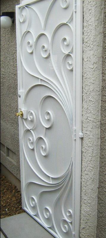 Scrollwork Security Door - Item Prato SD0002_White Wrought Iron Design In Las Vegas