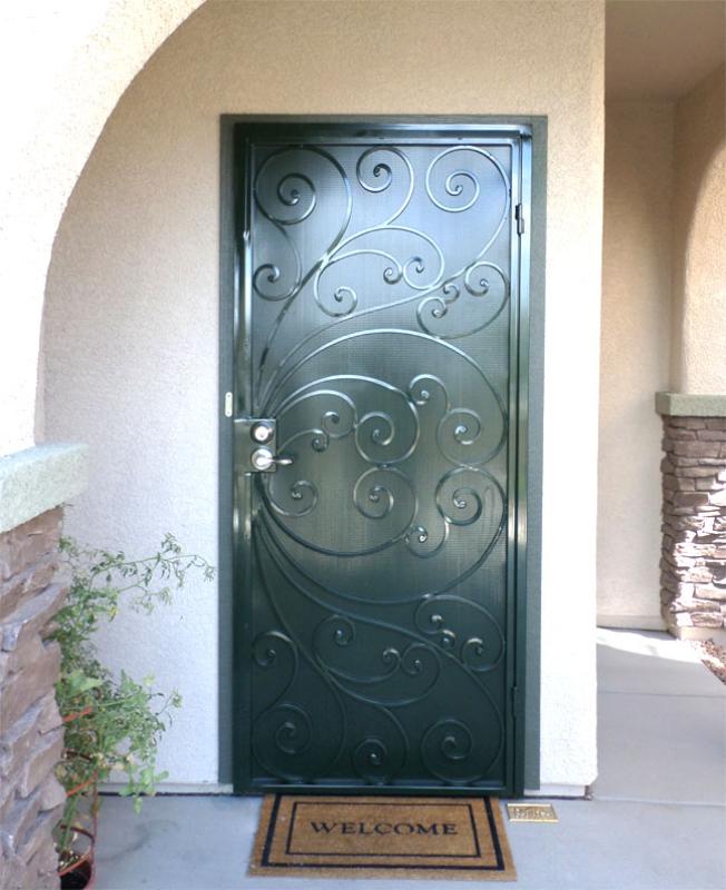 Scrollwork Security Door - Item Ricci SD0008B_Green Wrought Iron Design In Las Vegas