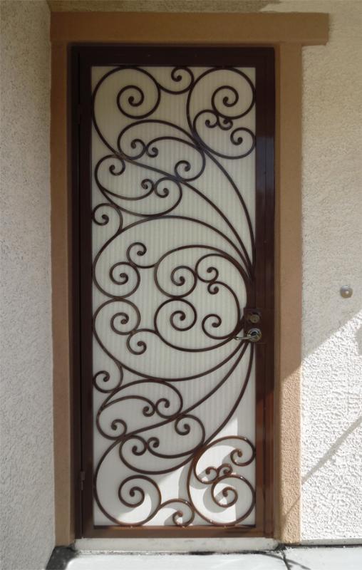 Scrollwork Security Door - Item Ricci SD0155A Wrought Iron Design In Las Vegas