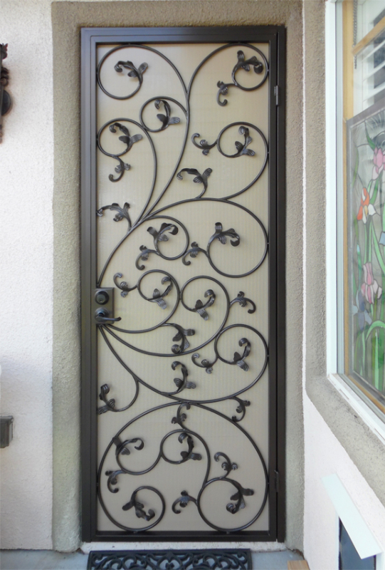 Scrollwork Security Door - Item Ricci SD0207_Leaves Wrought Iron Design In Las Vegas