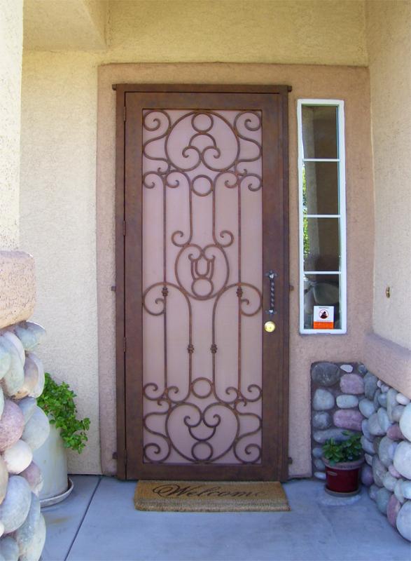 Scrollwork Security Door - Item Saharan SD0033 Wrought Iron Design In Las Vegas
