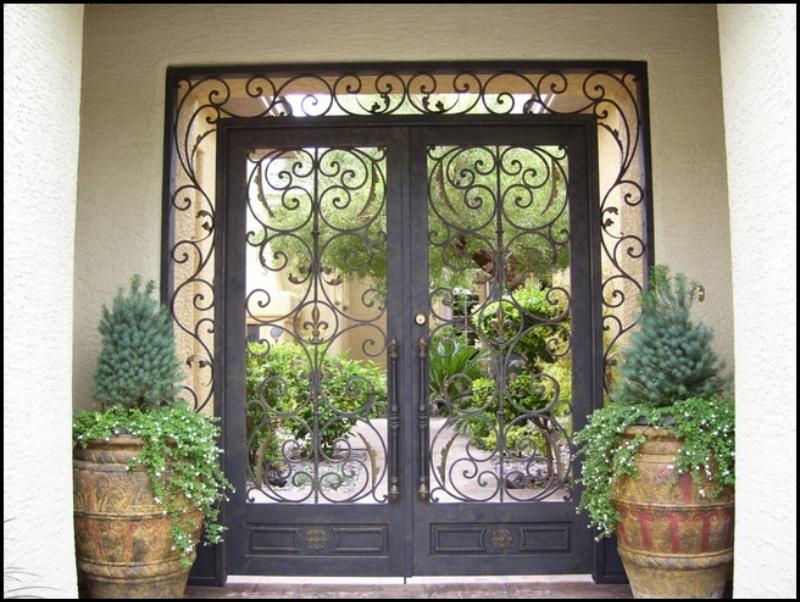Scrollwork Toulouse Entryway Door - Item EW0004 Wrought Iron Design In Las Vegas