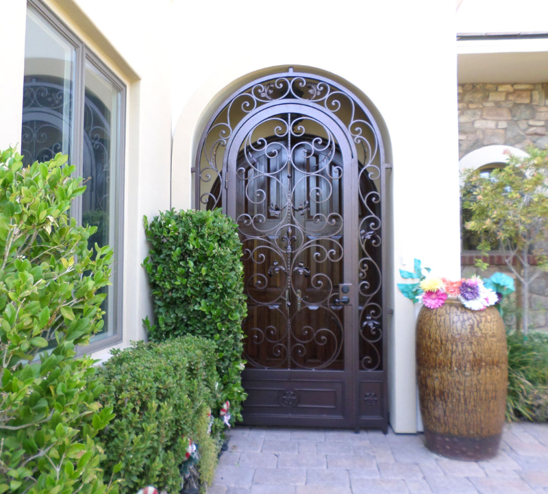 Scrollwork Toulouse Entryway Door - Item EW0408 Wrought Iron Design In Las Vegas