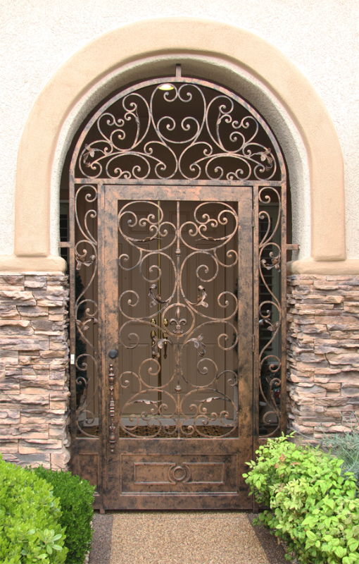 Scrollwork Toulouse Entryway Door - Item EW0408A Wrought Iron Design In Las Vegas
