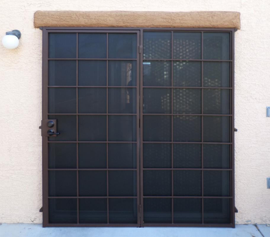 Solar Style Security Screen Door - Item FD0071 Wrought Iron Design In Las Vegas