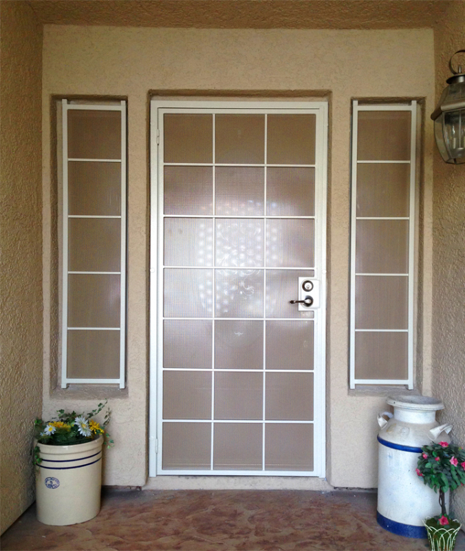 Solar Style Security Screen Door - Item SD0005 Wrought Iron Design In Las Vegas