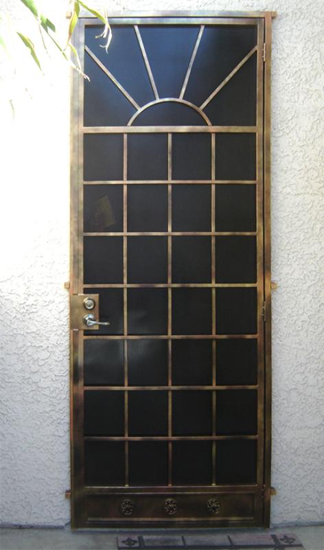 Solar Style Security Screen Door - Item SD0043 Wrought Iron Design In Las Vegas
