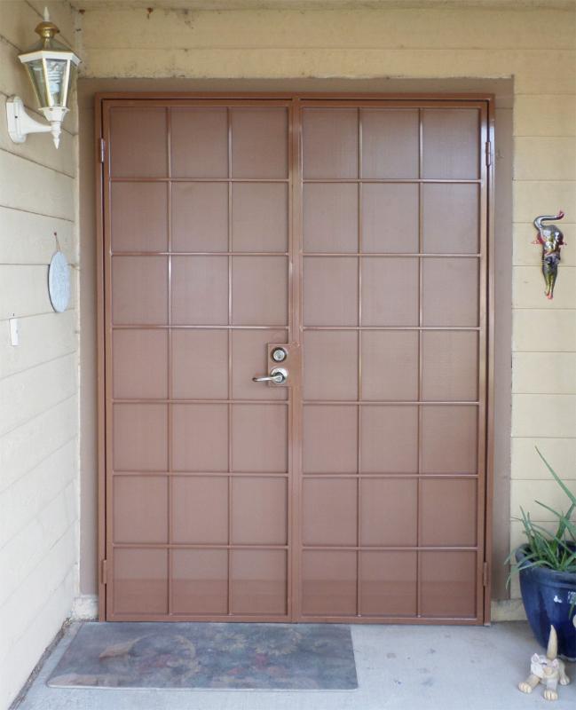 Solar Style Security Screen Double Door - Item FD0067 Wrought Iron Design In Las Vegas