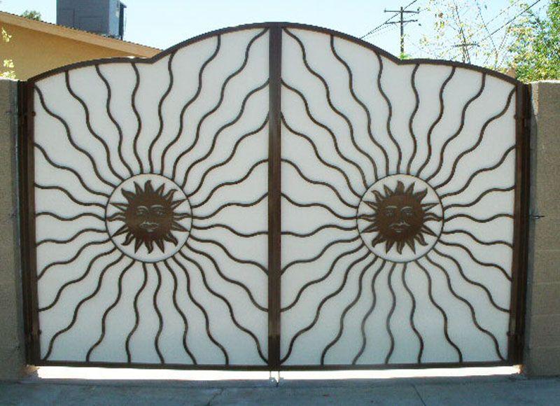 Plasma-Cut Double Gate - Item SunburstDG0104 Wrought Iron Design In Las Vegas