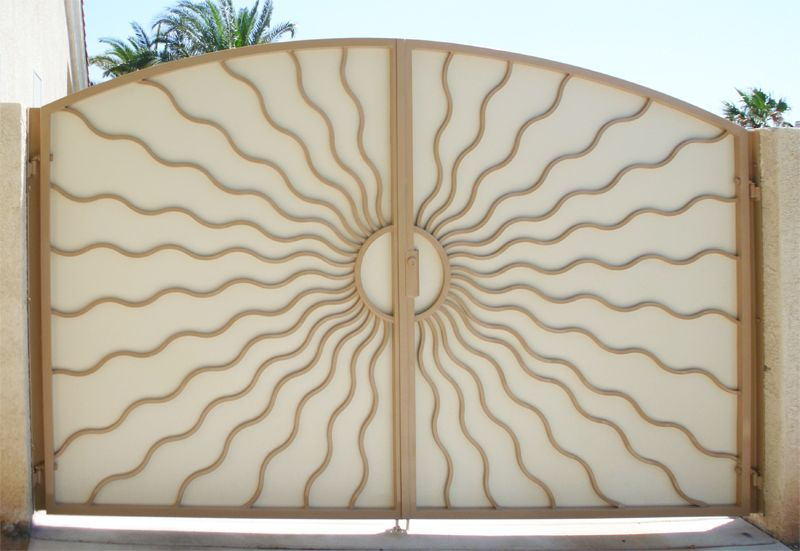 Nature Inspired Double Gate - Item Sunburst DG0214 Wrought Iron Design In Las Vegas