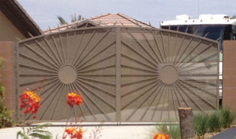 Nature Inspired Double Gate - Item SunburstDG0243 Wrought Iron Design In Las Vegas
