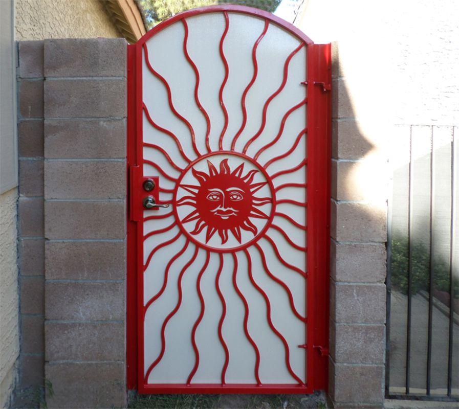 Plasma-Cut Single Gate - Item SunburstSG0020C Wrought Iron Design In Las Vegas