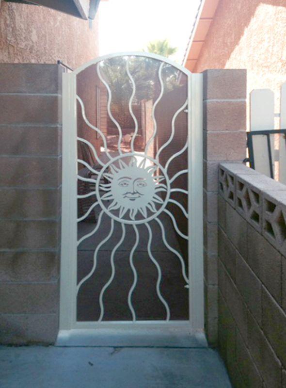 Plasma-Cut Single Gate - Item SunburstSG0020D Wrought Iron Design In Las Vegas