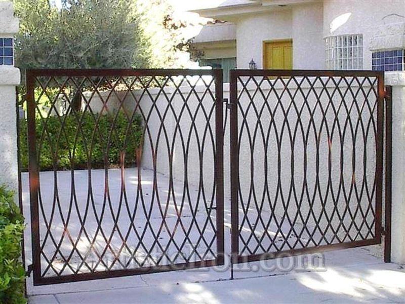 Modern Double Gate - Item TetraDG0022 Wrought Iron Design In Las Vegas