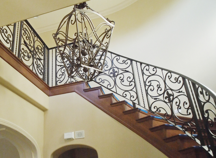 Scrollwork-Interior Railing-Item IR0203A Wrought Iron Design In Las Vegas