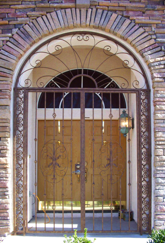 Traditional Abbey Entryway Door - Item EW0072 Wrought Iron Design In Las Vegas