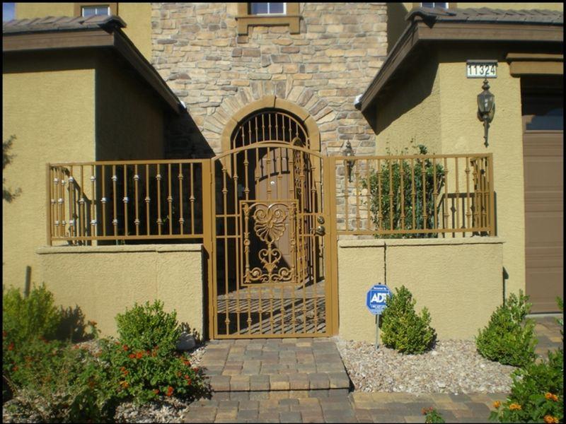 Traditional Courtyard & Entryway Gates CE0054 Wrought Iron Design In Las Vegas