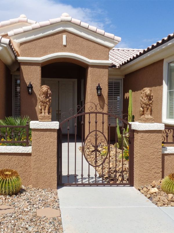 Traditional Courtyard & Entryway Gates CE0170A Wrought Iron Design In Las Vegas