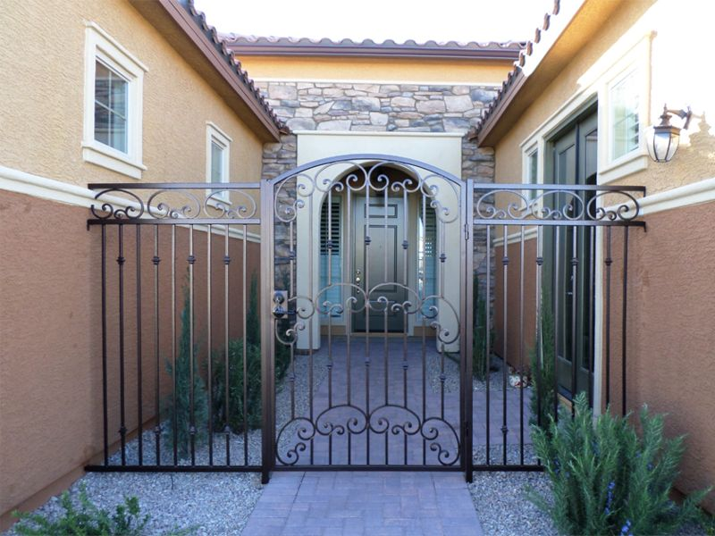Traditional Courtyard & Entryway Gates CE0249A Wrought Iron Design In Las Vegas
