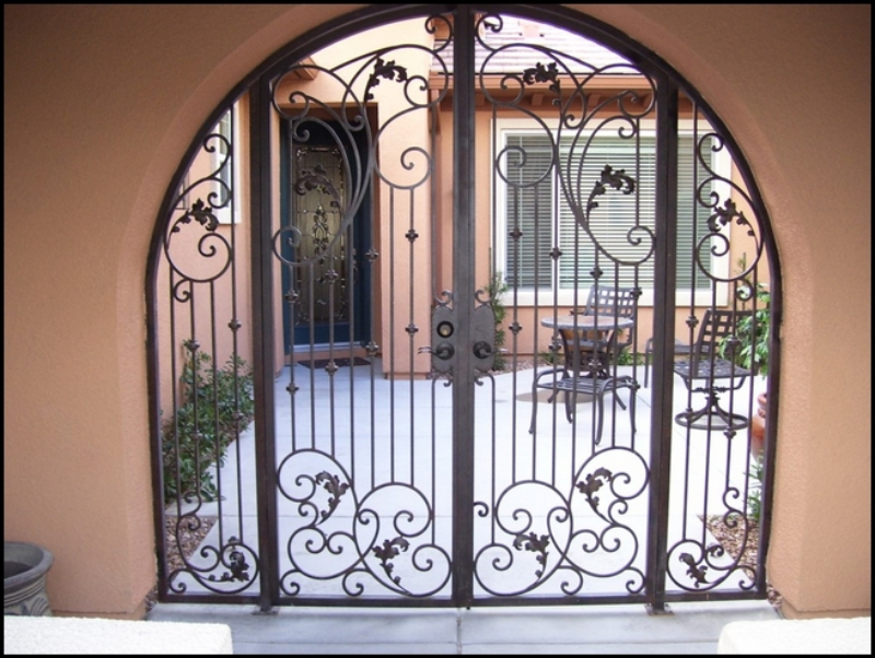 Traditional Custom Archive Arched Entryway Door - Item EW0006 Wrought Iron Design In Las Vegas
