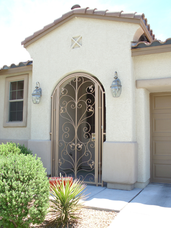 Traditional Custom Archive Arched Entryway Door - Item EW0057 Wrought Iron Design In Las Vegas
