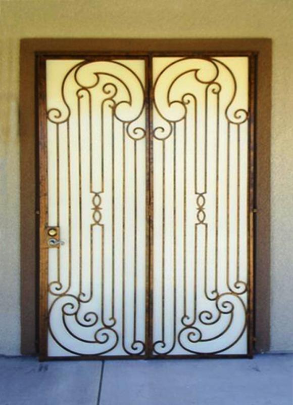 Traditional Custom Archive Double Security Door - Item FD0005 Wrought Iron Design In Las Vegas