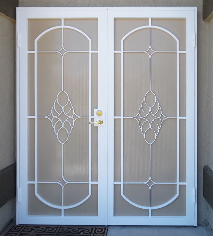 Traditional Custom Archive Double Security Door - Item FD0044_White Wrought Iron Design In Las Vegas