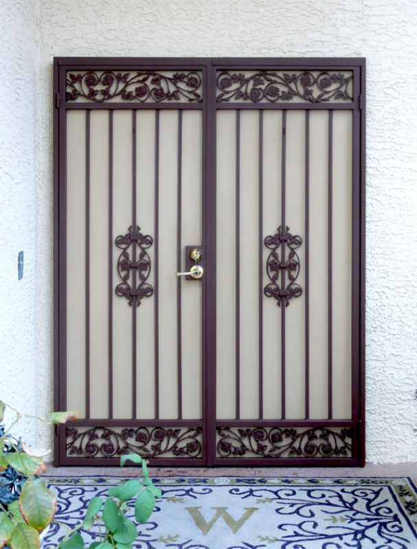 Traditional Custom Archive Double Security Door - Item FD0113 Wrought Iron Design In Las Vegas