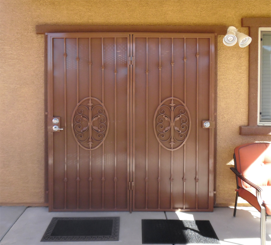 Traditional Double Security Door - Item Abbey FD0118 Wrought Iron Design In Las Vegas
